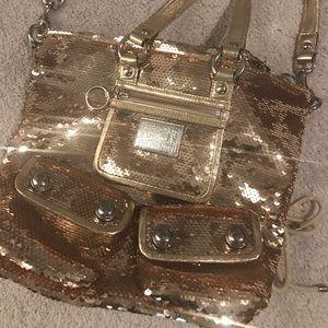 Gold sequin Coach Poppy purse